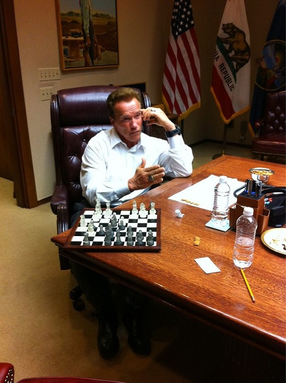 Gov. Arnold Schwarzenegger posted this photo on his Twitter feed of himself on the phone with legislators at 1:30 a.m.