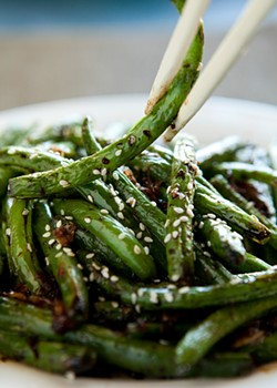 MELISSA BARNES - Grilled green beans with cumin seeds, chiles and salt.