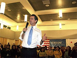 WILL HARPER - Gubernatorial candidate Newsom during a campaign stop in San Jose earlier this year.