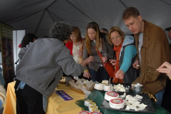 Guests Tasting Redwood Hill Farms Cheeses in the Grand Tasting Tent - KAREN PREUSS