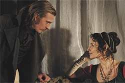 IFC FILMS - Guillaume Depardieu as the suitor and Jeanne Balibar as the duchess.