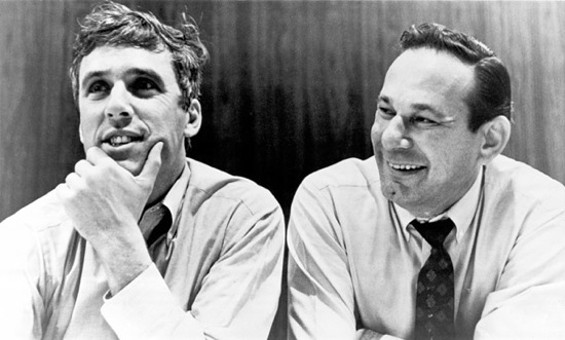 Hal David, right, with Burt Bacharach