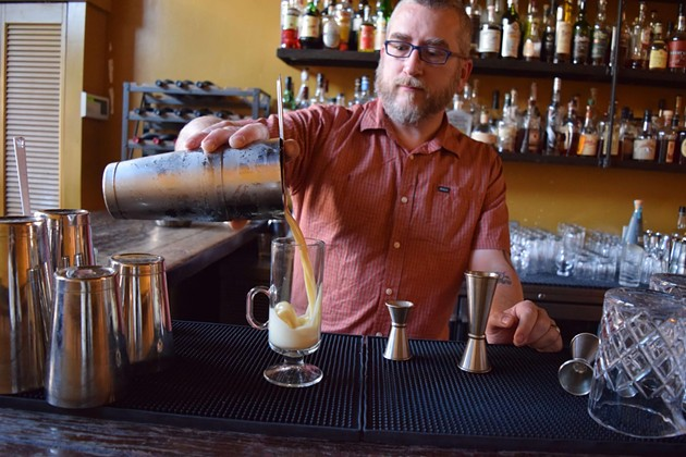 Head bartender Larry Piaskowy pours the silky-smooth Mr. Kipling's Flip, meant to go with a Trefoil or two. - MAGGIE ENGBRETSON