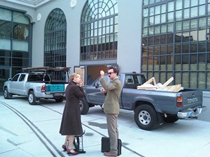 Heidi Gibson confers with architect Wylie Price at the South Park site. - AMERICAN GRILLED CHEESE KITCHEN
