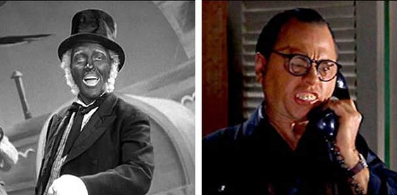 Historical racism: On left, Bing Crosby in a still from Holiday Inn (1942); on right, Mickey Rooney in his infamous role as Mr. Yunioshi from Breakfast at Tiffany's (1961).