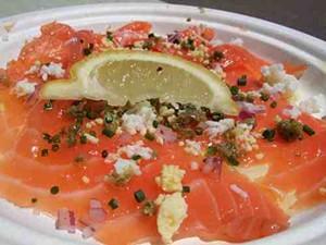 House-smoked king salmon carpaccio. - TAMARA PALMER