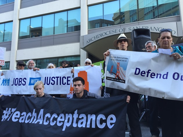 Protesters rally outside the Archdiocese Chancery - JULIA CARRIE WONG