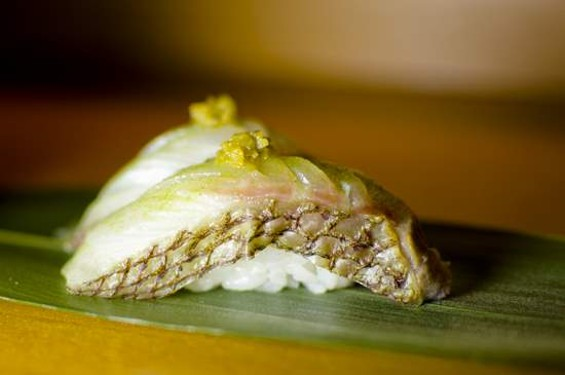 ICHI Sushi's tai nigiri with yuzu kosho, $5.75. - GIL RIEGO JR./GIL PHOTOGRAPHY