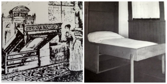 If these beds have been around since forever, shouldn't they still be common and not expensive? - (LEFT) PRESS BED FROM THE DECORATOR AND FURNISHER MAGAINE, 1891, NEW YORK, COURTESY COOPER UNION MUSEUM LIBRARY, NEW YORK. (RIGHT) SHAKER PRESS BED C. 1810, COURTESY SHAKER MUSEUM, AUBURN KENTUCKY