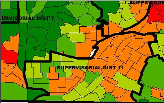 In this map, orange represents less than 33 percent of first-place for Avalos; olive 13 to 17 percent; light green 9 to 12 percent; and dark green less than 9 percent - DAVID LEE, CAVEC