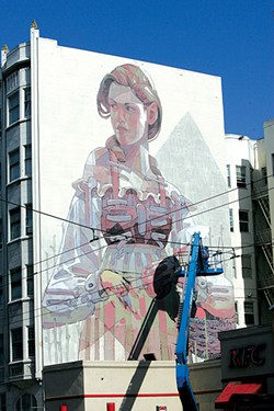 MIKE KOOZMIN - International semi-secretive artist Aryz dresses up the Tenderloin with a nice lady.