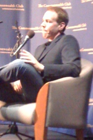 It sort of looks like Bret Easton Ellis is touching himself, but he wasn't. Really.