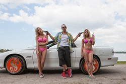James Franco is more like the Wigga of Oz, amirite? With Vanessa Hudgens (right) and Ashley Benson in Spring Breakers.