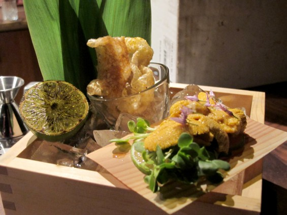 Japan meets Mexico: uni served with burnt lime and chicharrones - LOU BUSTAMANTE