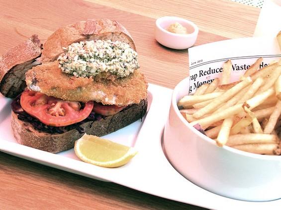 Japanese aji sandwich with red cabbage sauerkraut and Skool tartar sauce ($12). - JOHN BIRDSALL