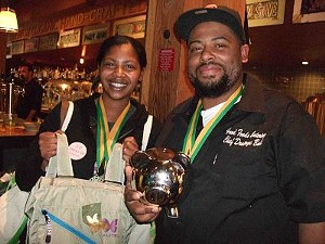 "Jasmine and Dontaye Ball of Good Foods Catering won Judges' First Place and People's Choice Honorable Mention for ""The Bite of Smokey Porky Love."" - TAMARA PALMER"