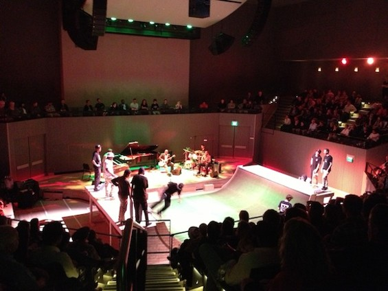 Jason Moran and skateboarders at SFJAZZ last night.