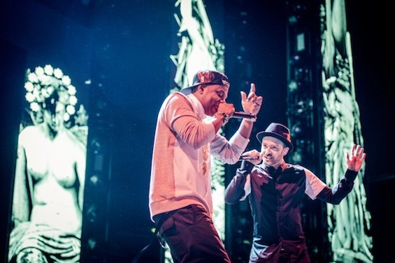 Jay Z and Justin Timberlake at Candlestick Park on Friday. All photos by Gil Riego Jr. - GIL RIEGO, JR.