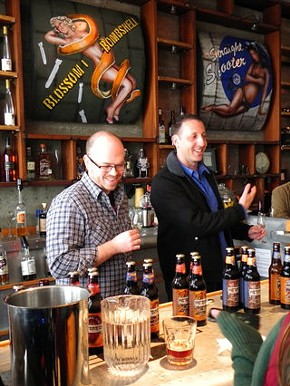 Jeremy Cowan, right, leads a tasting at St. George Spirits in Alameda. - JASON HENRY