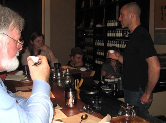 Jesse Jacobs gives us an education as we taste tea. - JANINE KAHN