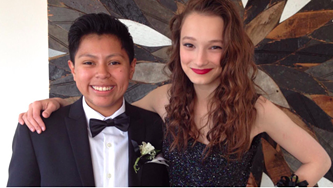 Jessica Urbina (left) in her tux. - FACEBOOK