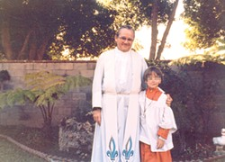 "COURTESY OF ALLEGED VICTIM ""MARK"" - Jesuit priest and former USF professor Donald McGuire with one of his alleged victims in Walnut Creek in 1982."