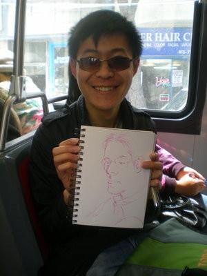 Jimmy La, with his sketch of your humble narrator - JOE ESKENAZI