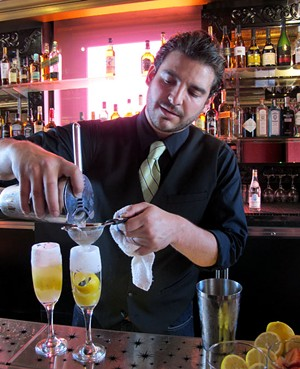 Joel Teitelbaum serving up a couple of Pisco Crustas - LOU BUSTAMANTE