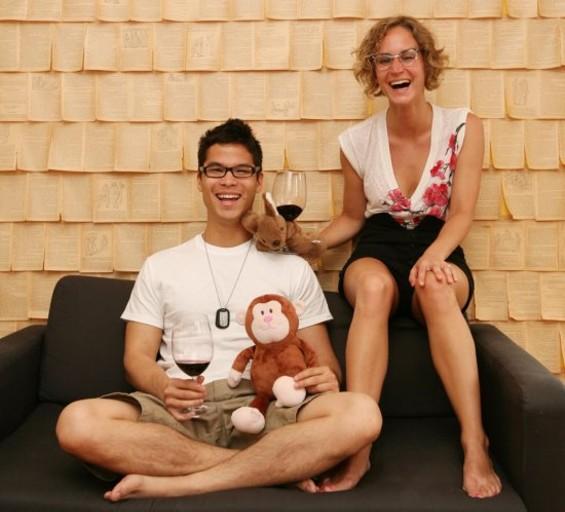 Josiah Baldivino, his finance Stevie Stacionis and their stuffed animals Pim & Joey.