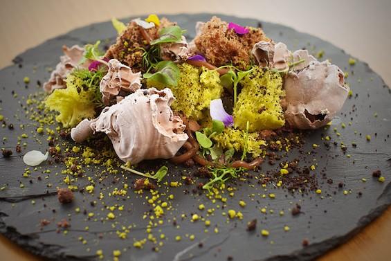 Juan Contreras's pistachio-chocolate landscape at Atelier Crenn. - BRIAN SMEETS/BRIAN SMEETS PHOTOGRAPHY