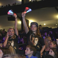 Justin Bieber Descends on Oakland Crowd with Angel Wings