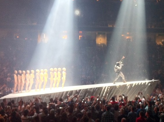 Kanye West at SAP Arena last night.