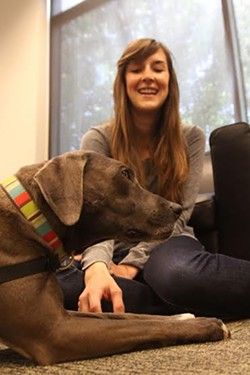 """Katy Yount, a third year law student at USF, gets a free therapy session with """"Sophia Loren"""" - SHAWN CALHOUN/ USF."""