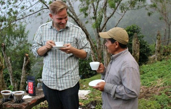 Kevin Bohlin drinks coffee made from beans produced in Honduras by his friend and farmer Sebastian Benitez. - KEVIN BOHLIN