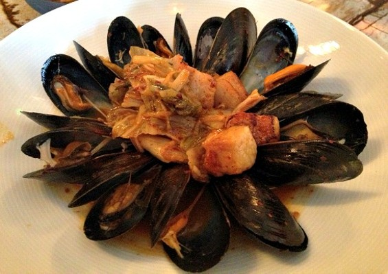 Kimchi-steamed mussels with pork belly. - ANNA ROTH