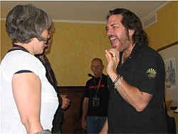 JENNIFER MAERZ - Kip Winger teaches a camper how to say ah.