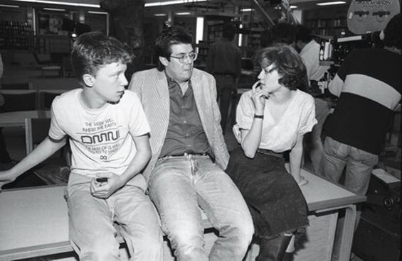 (L to R) Anthony Michael Hall, John Hughes, and Molly Ringwald on the set of The Breakfast Club