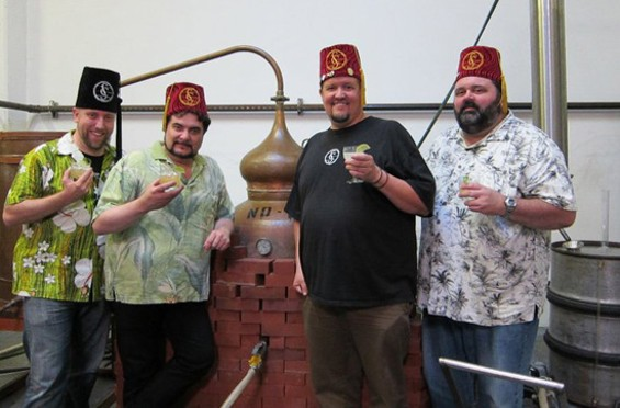 (L to R) Smuggler's Cove owner Martin Cate and Masters John Boatwright, Mark Holt, and Ron Roumas - MARTIN CATE