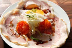 JUAN PARDO - La Nebbia's dreamy porchetta with blood orange and endives.