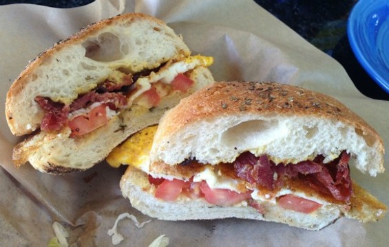 L'Acajou's breakfast sandwich is totally healthy: It's adorned with fresh tomatoes. - JOSH LESKAR