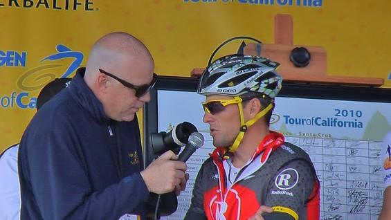 Lance Armstrong interviewed before Tuesday's start - DENNIS BUDD