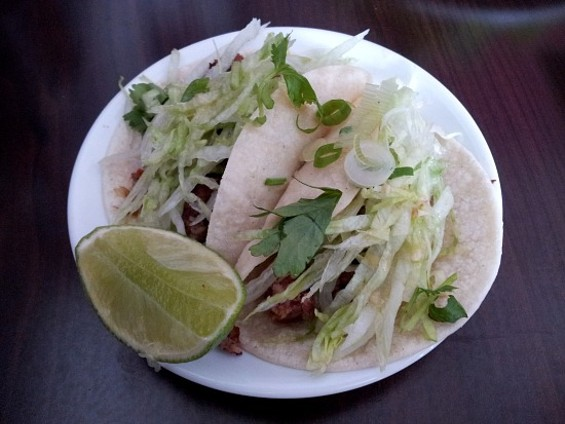 Lao tacos at Champa Garden. - PETE KANE
