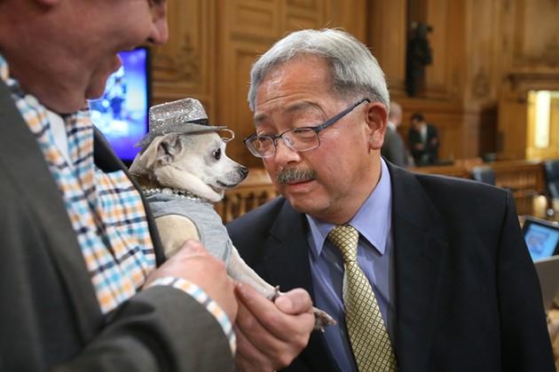 Lapdog meets mayor. - MIKE KOOZMIN