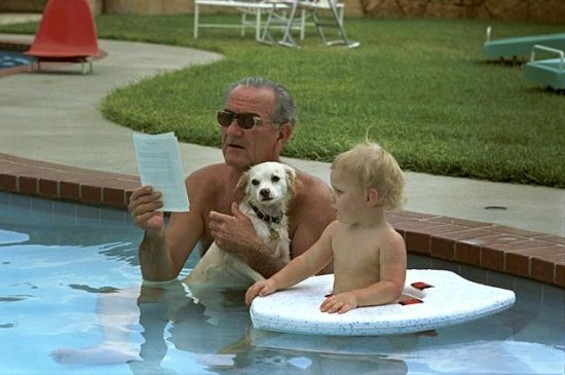 LBJ in the LBJ Ranch pool with grandson Patrick - WHITE HOUSE PHOTO OFFICE