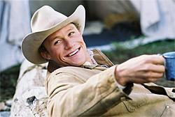 Ledger as a closeted gay cowboy in Brokeback Mountain.