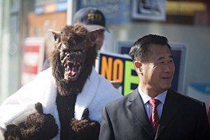Leland Yee, seen here with a werewolf campaigning against Prop. B, aspires to Room 200 - JIM HERD