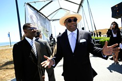 PHOTOGRAPH BY MICHAEL SHORT/FOR THE CENTER FOR INVESTIGATIVE REPORTING - Lennar Urban President Kofi Bonner (left) and former San Francisco Mayor Willie Brown attend a June 26 groundbreaking for Lennar Corp.'s housing development at the old Hunters Point Naval Shipyard site in San Francisco.