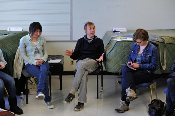 Lia Rose, singer of Or, the Whale, John Vanderslice, and a student at the 'DIY Do's and Dont's' workshop.