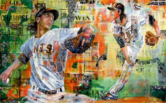 Lincecum Stride depicts two-time Cy Young Award-winner Tim Lincecum, who was instrumental in the Giants' championship season of 2010. - ROBERT MAROSI BUSTAMENTE
