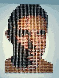 Little People, Big Person: Plastic toys make up  Steve DeFrank's Self-Portrait.